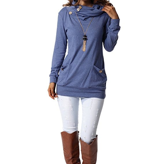 levaca Womens Long Sleeve Button Cowl Neck Casual Slim Tunic Tops
