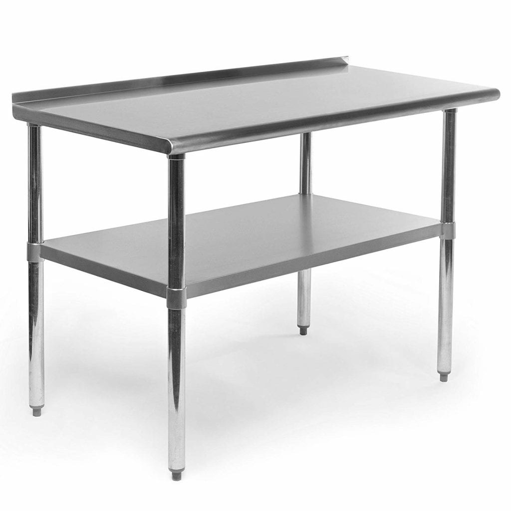 GRIDMANN NSF Stainless Steel Commercial Table with Backsplash - 48x24 in.