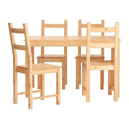 Ikea Table and 4 Chairs Solid Pine Wood (Light Brown)