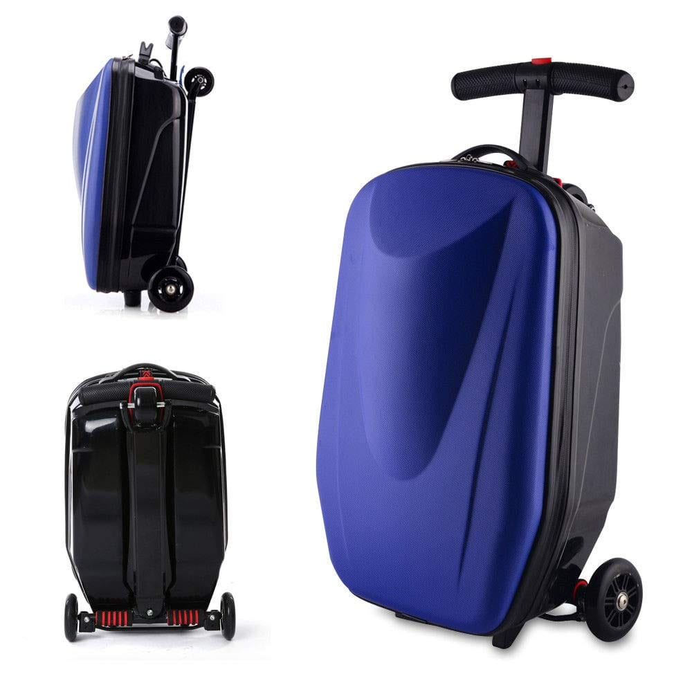 Luggage Scooter, 20'' Scooter Suitcase for Airport Travel Business School (Dark Blue)