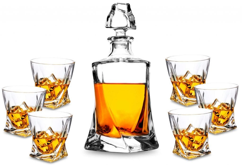 Piece Twist Crystal Whiskey Decanter Set