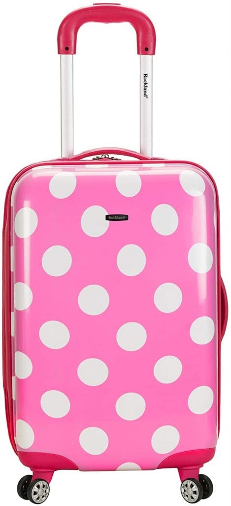 Rockland Laguna Beach Hardside Spinner Wheel Luggage, Pink Dots