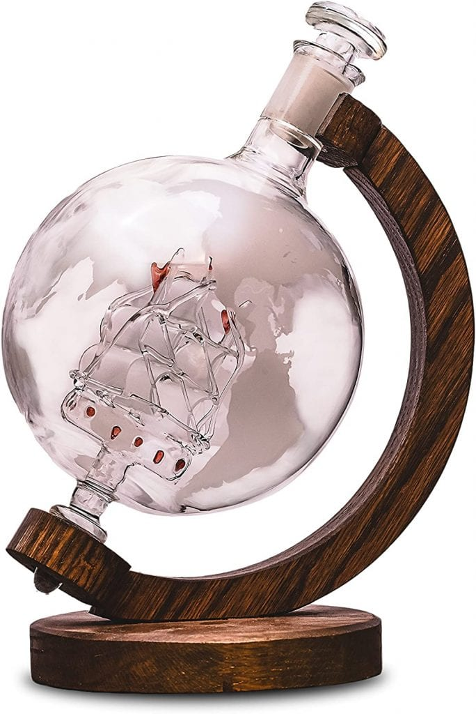 Whiskey Decanter with Ship Inside - Etched Globe Decanter