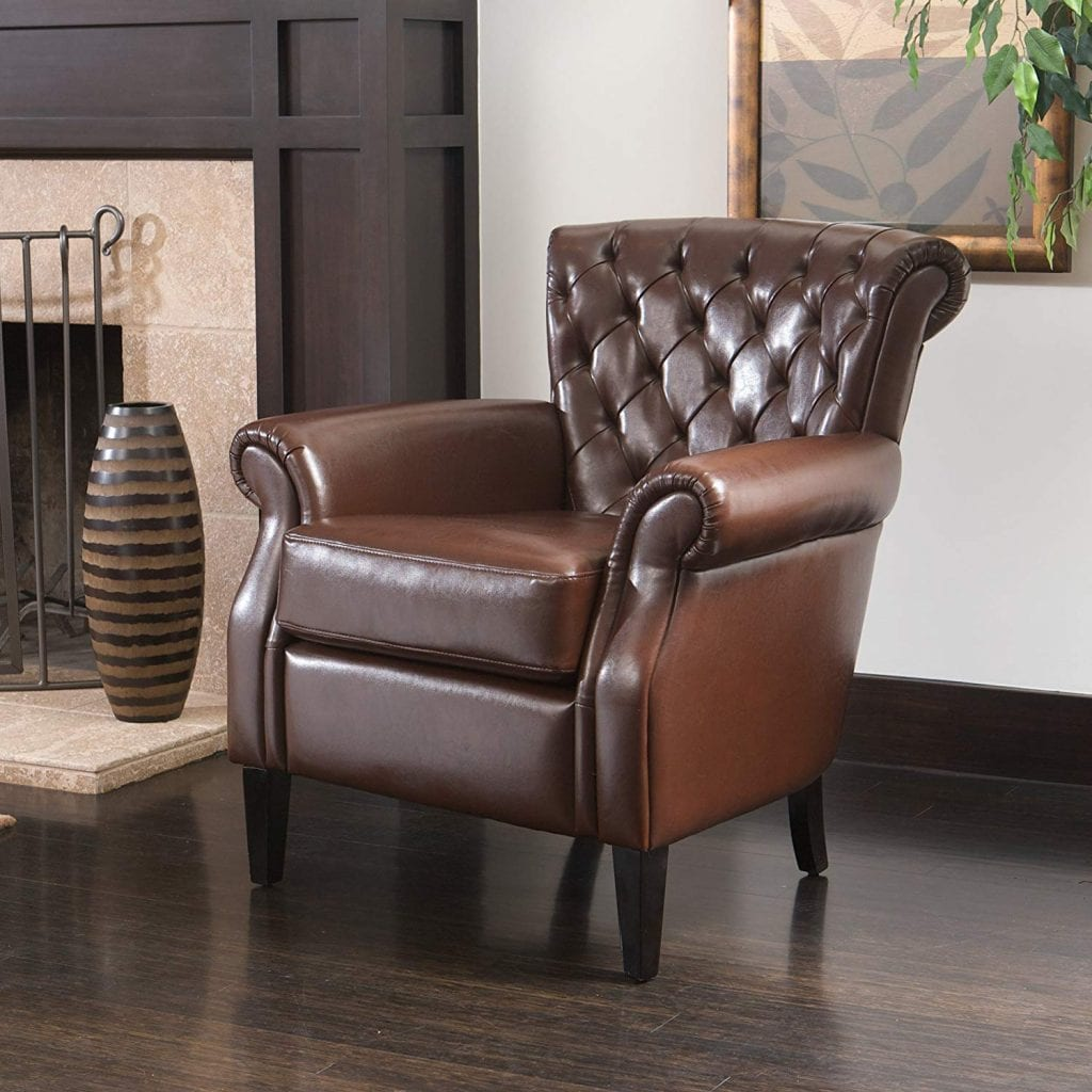 Christopher Knight Home 232936 Leather Club Chair, Brown