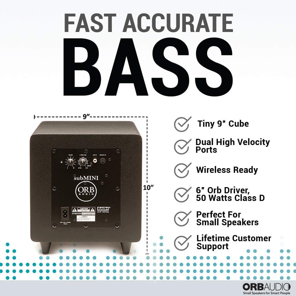 "Orb Audio Wireless Subwoofer - 9"" with Accurate Bass"