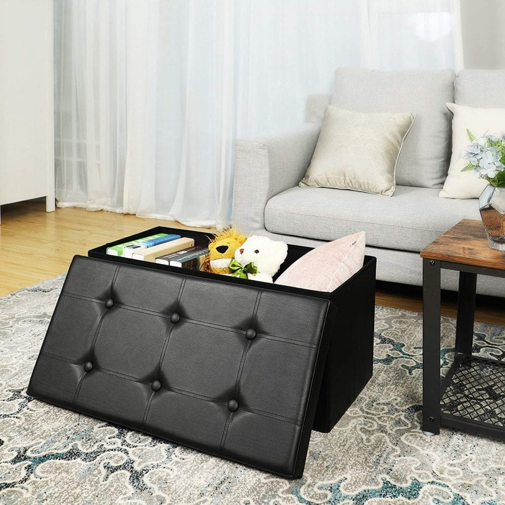 SONGMICS 30 Inches Folding Storage Ottoman Bench