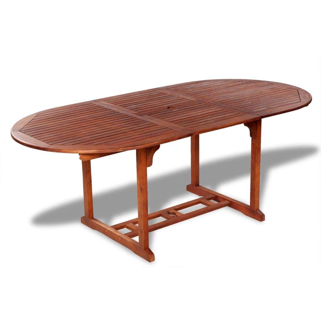 Tidyard Large Outdoor Patio Wood Extendable Dining Table