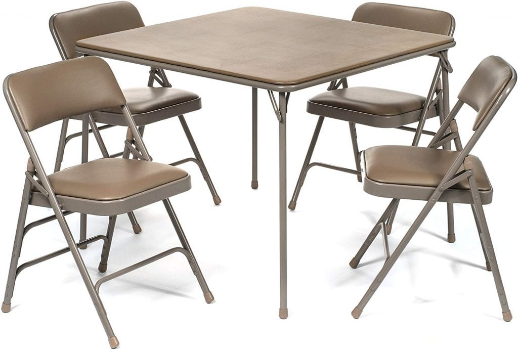 XL Series Vinyl Folding Card Table and Chair Set (5pc)