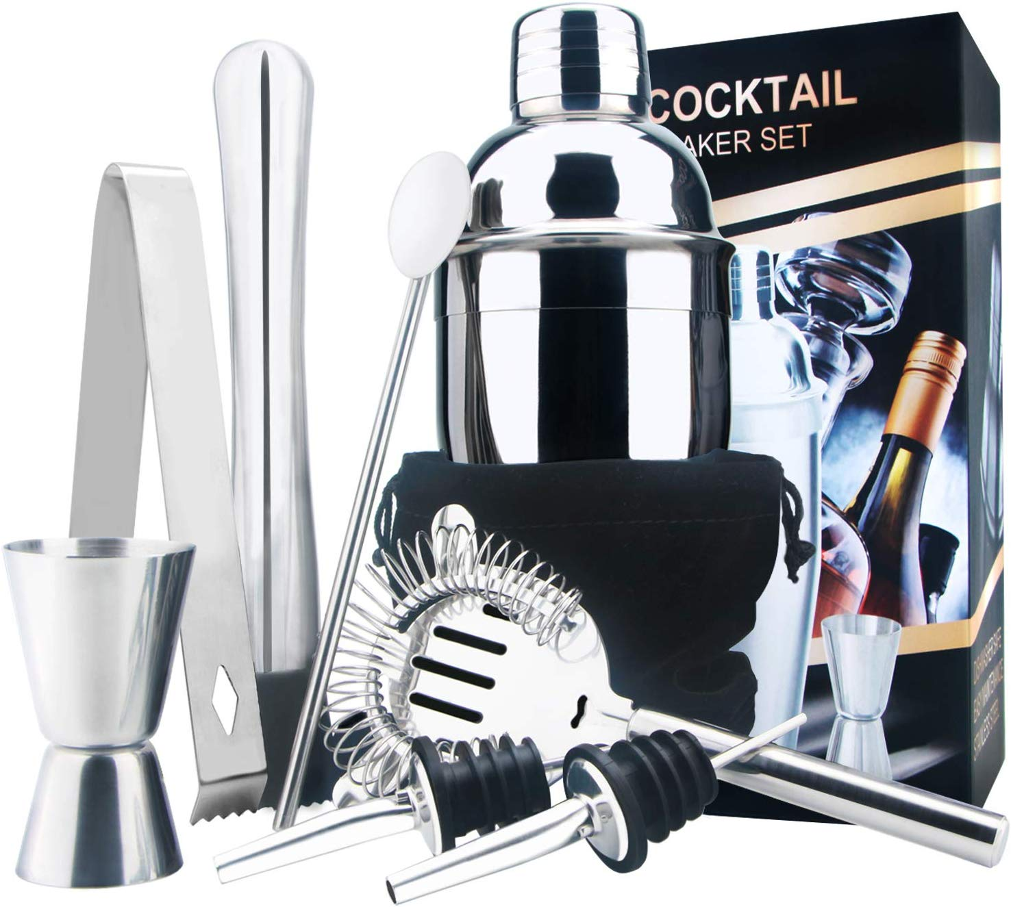 18oz Stainless Steel Cocktail Shaker Bar Set Tools