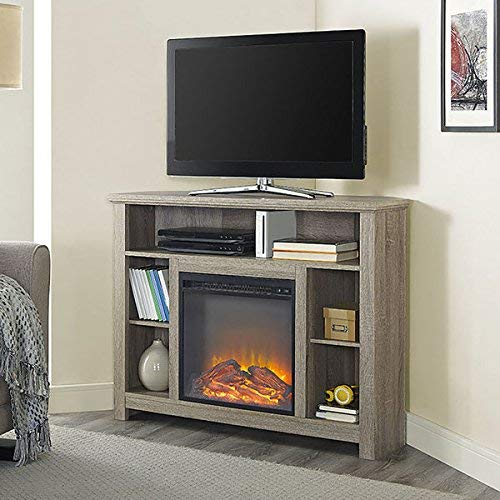 44-inch Wood Corner Highboy Fireplace TV stand – Driftwood