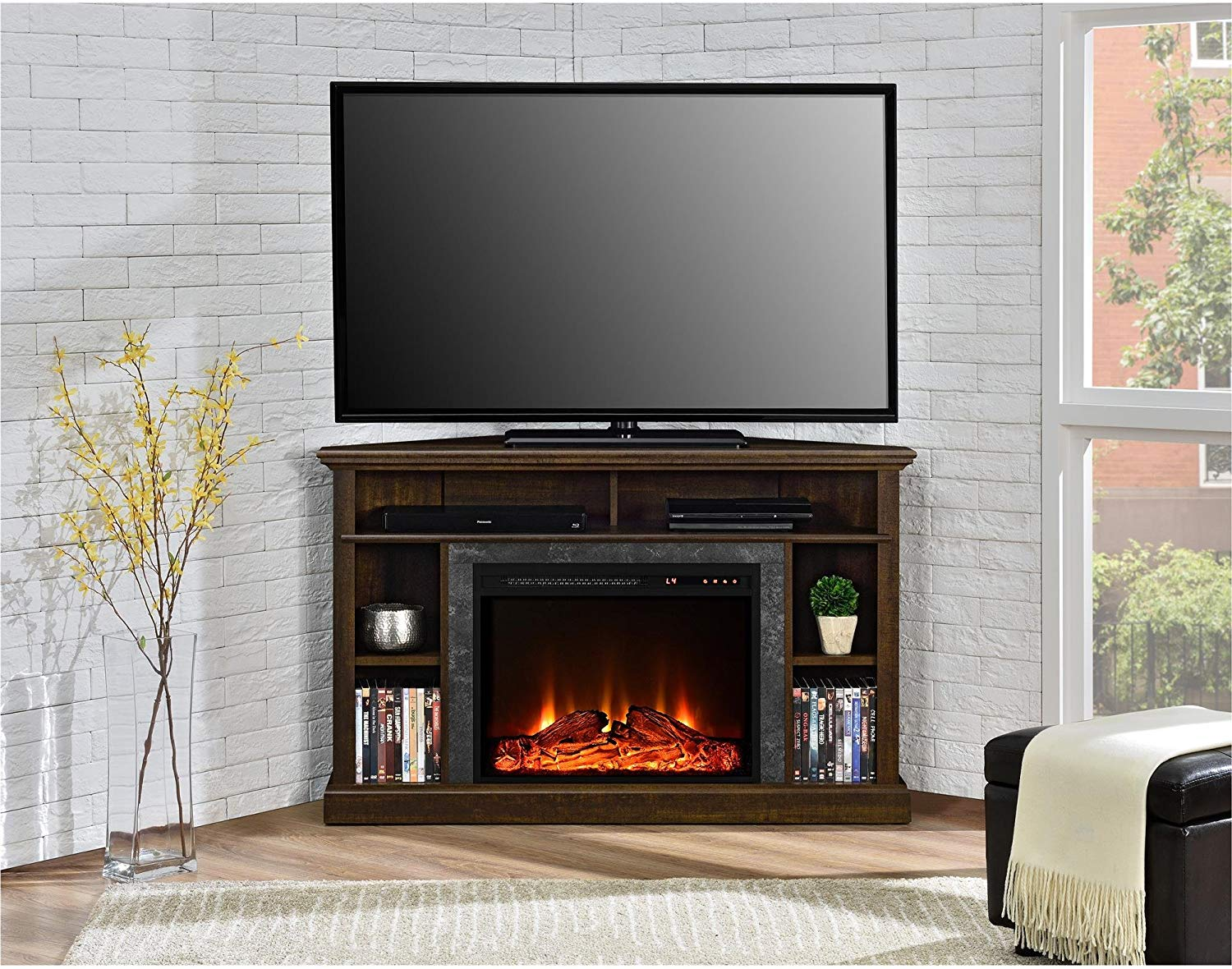 "Ameriwood Home Overland Electric Corner Fireplace for TVs up to 50"" Wide"