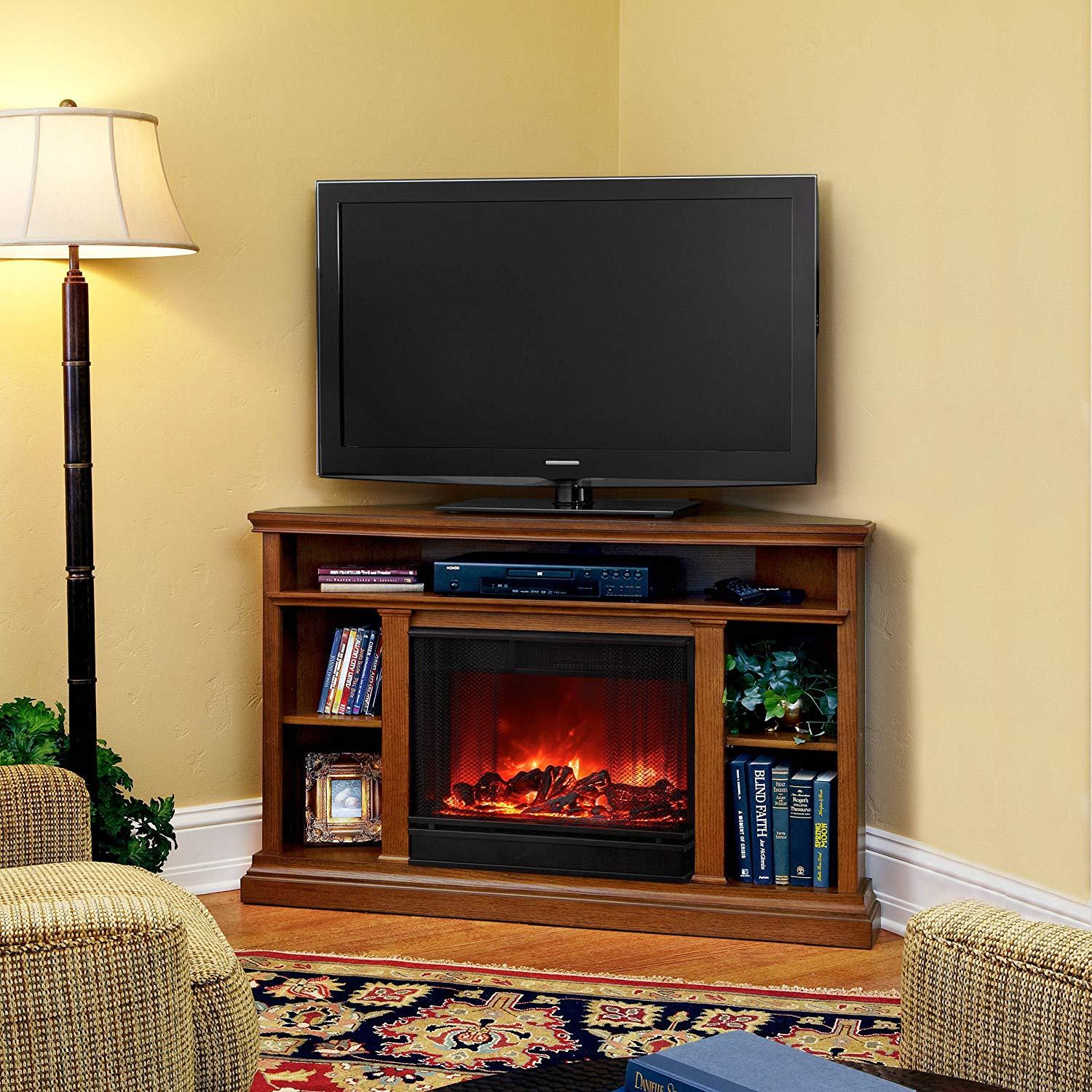 Real Flame Fresno G1200-X-B Entertainment Unit in Black with Electric Fireplace