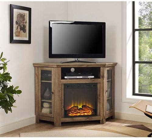"Walker Edison Jackson Collection W48FPCRBW 48"" Wood Corner Media TV Stand Console with Double Doors and Electric Fireplace in (Barnwood)"