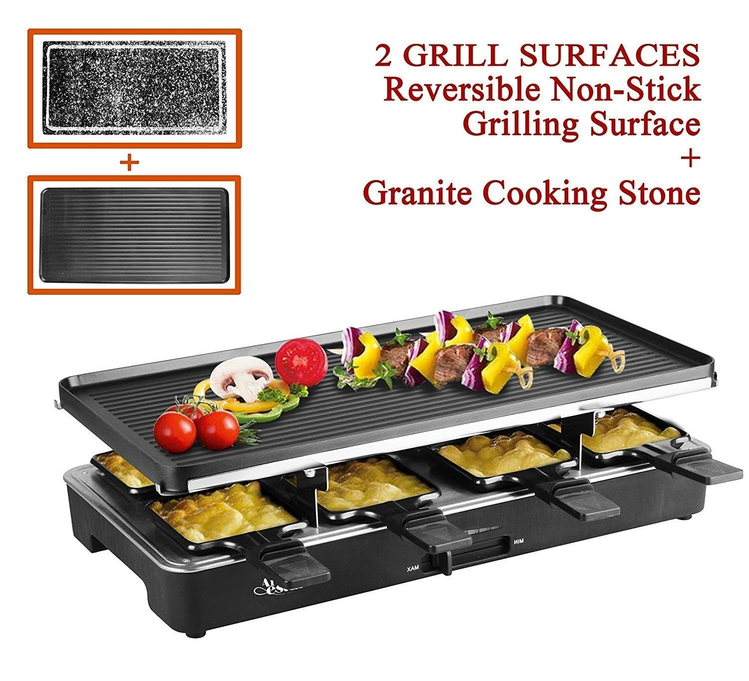 Artestia Electric Raclette Grill Tabletop BBQ
