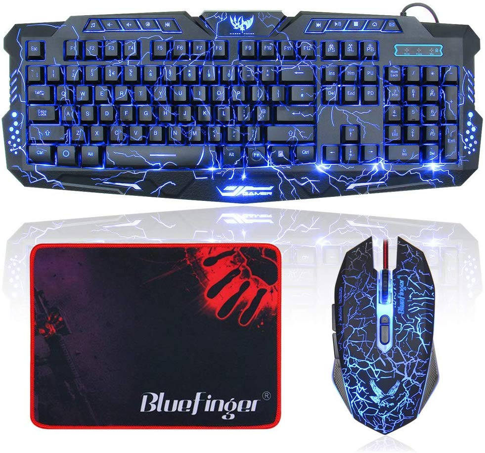 BlueFinger LED Gaming Keyboard and Mouse