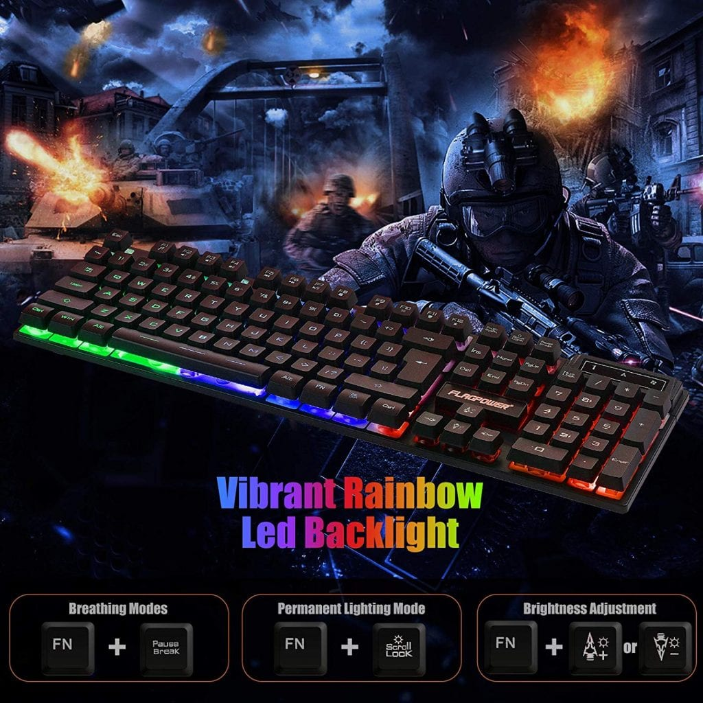 FLAGPOWER Gaming Keyboard and Mouse Combo