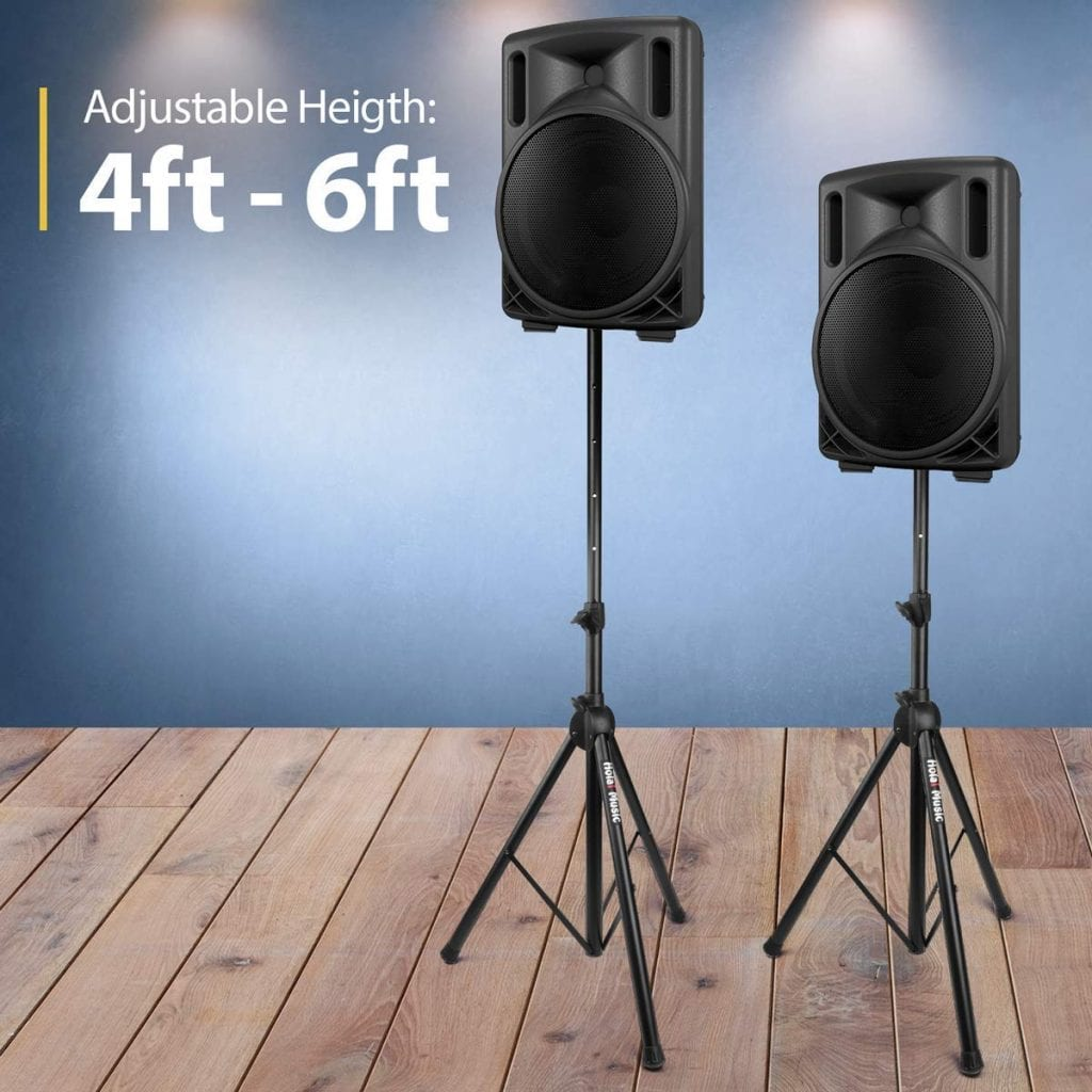 PAIR of PA Speaker Stands by Hola! Music, Professional Heavy-Duty Tripod Structure, 4-6ft Adjustable Height, Model HPS-500PA