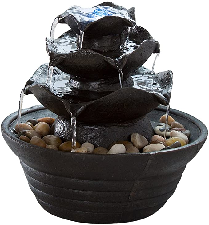 Pure Garden Indoor Water Fountain With LED Lights