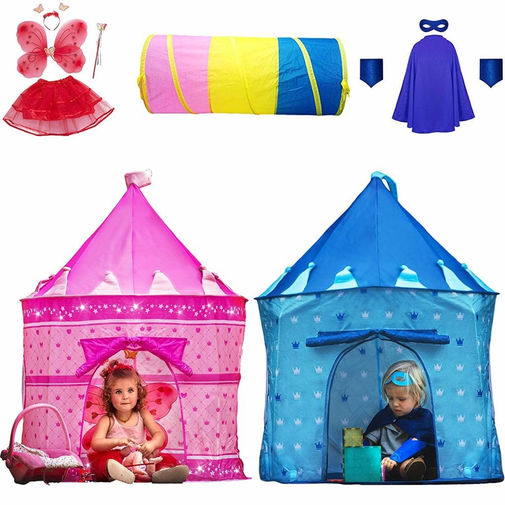 Playz 10-Piece Boys & Girls Dress Up Castle Play Tent