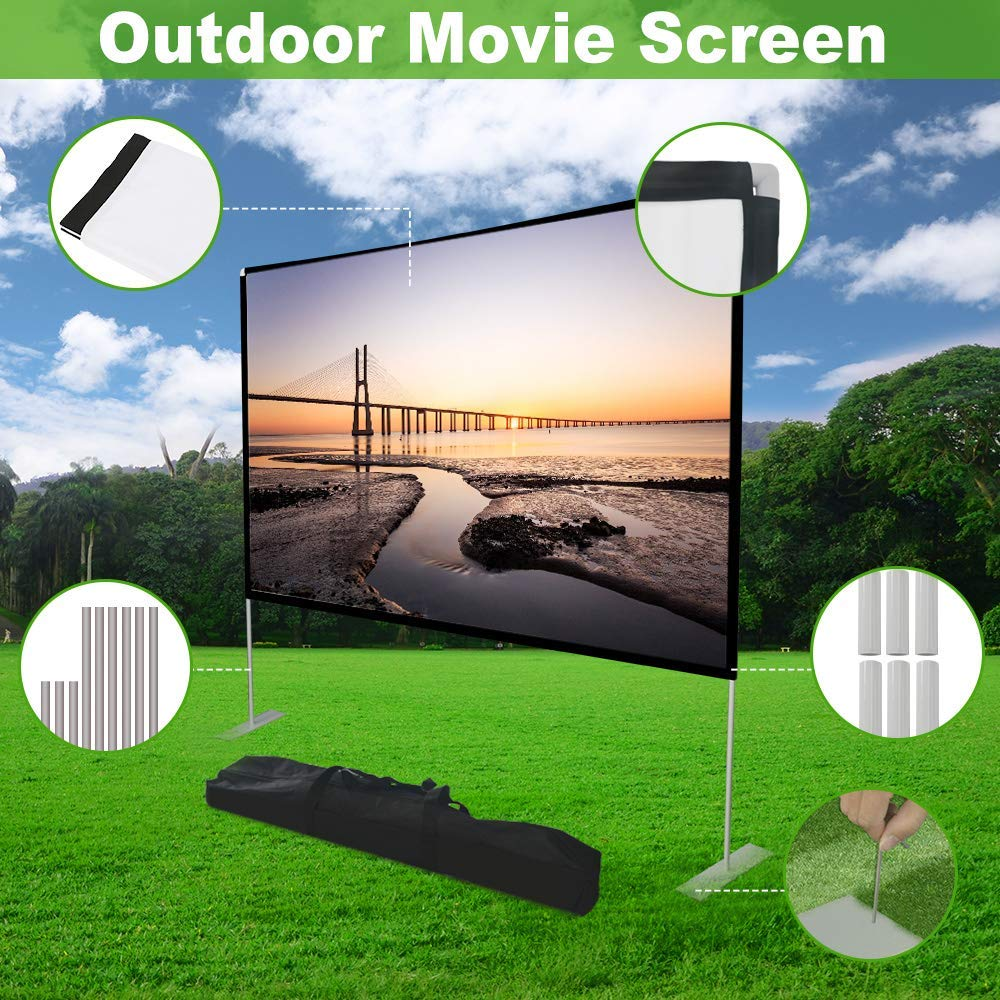 Dessports Outdoor Projector Screen Wrinkle-Free with carrying Bag