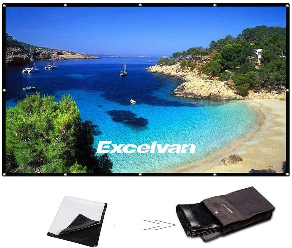 "Excelvan 150"" Projector Screen with the Hanging Hole Grommets"