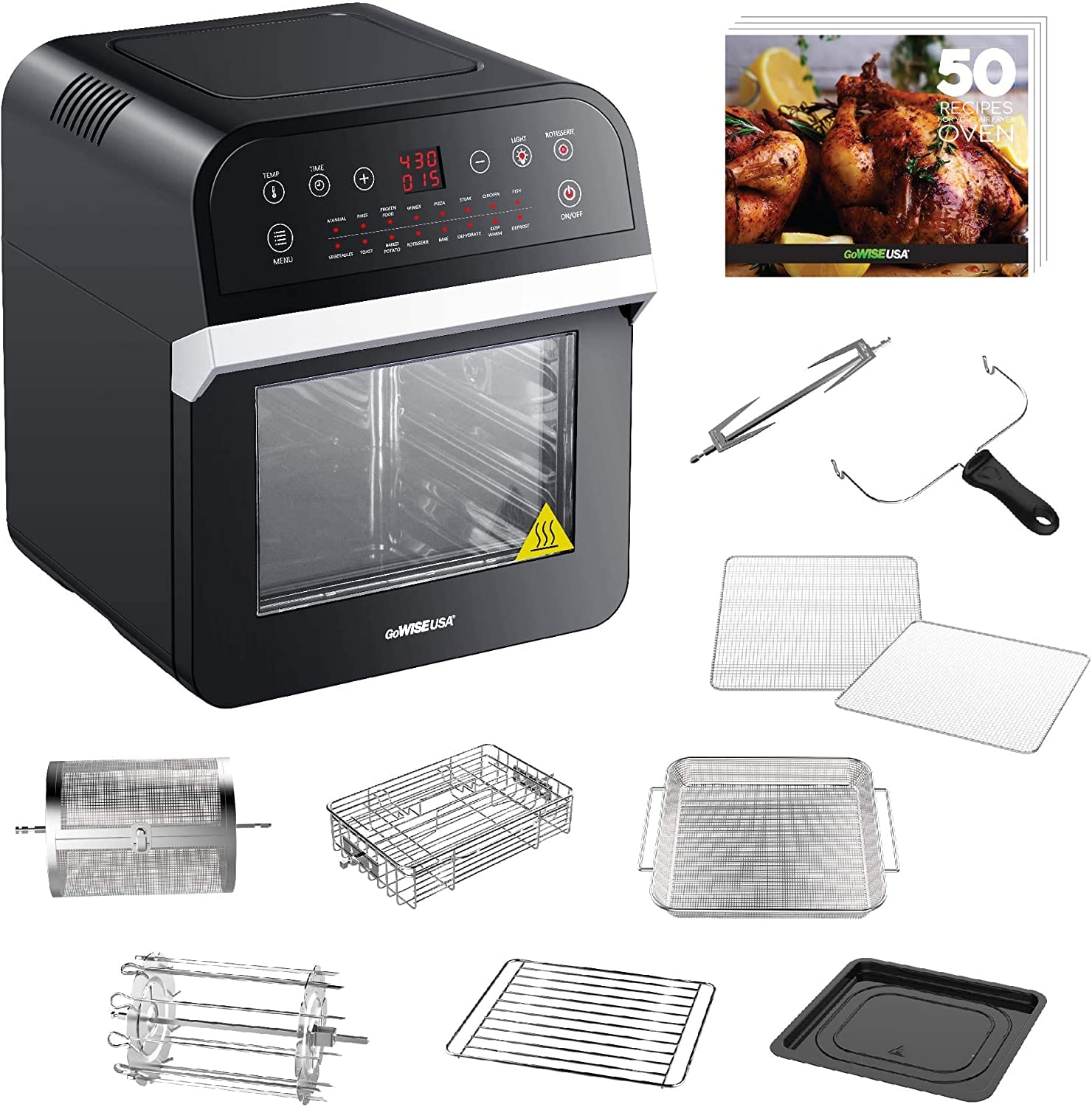 GoWISE USA GW44800-O Deluxe 12.7-Quarts 15-in-1 Electric Air Fryer Oven