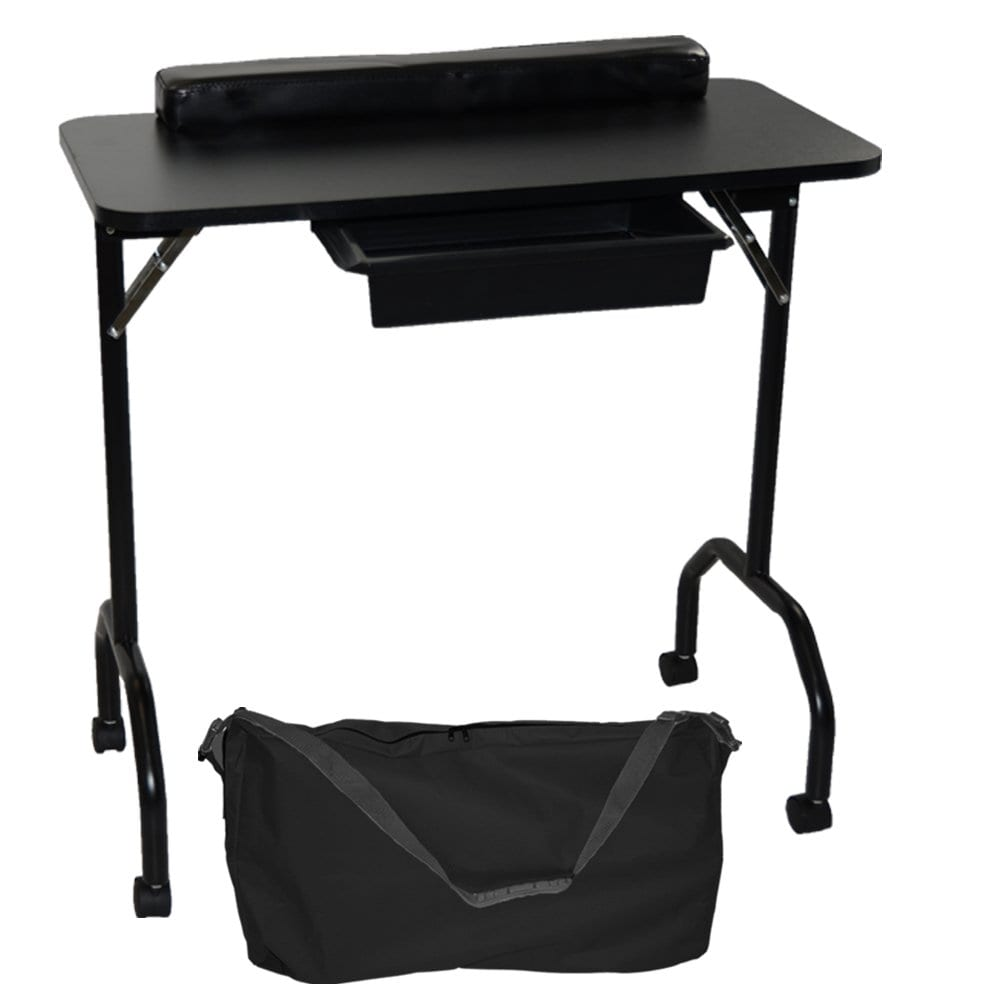 LCL Beauty Black Portable Folding 1-Drawer Manicure Table