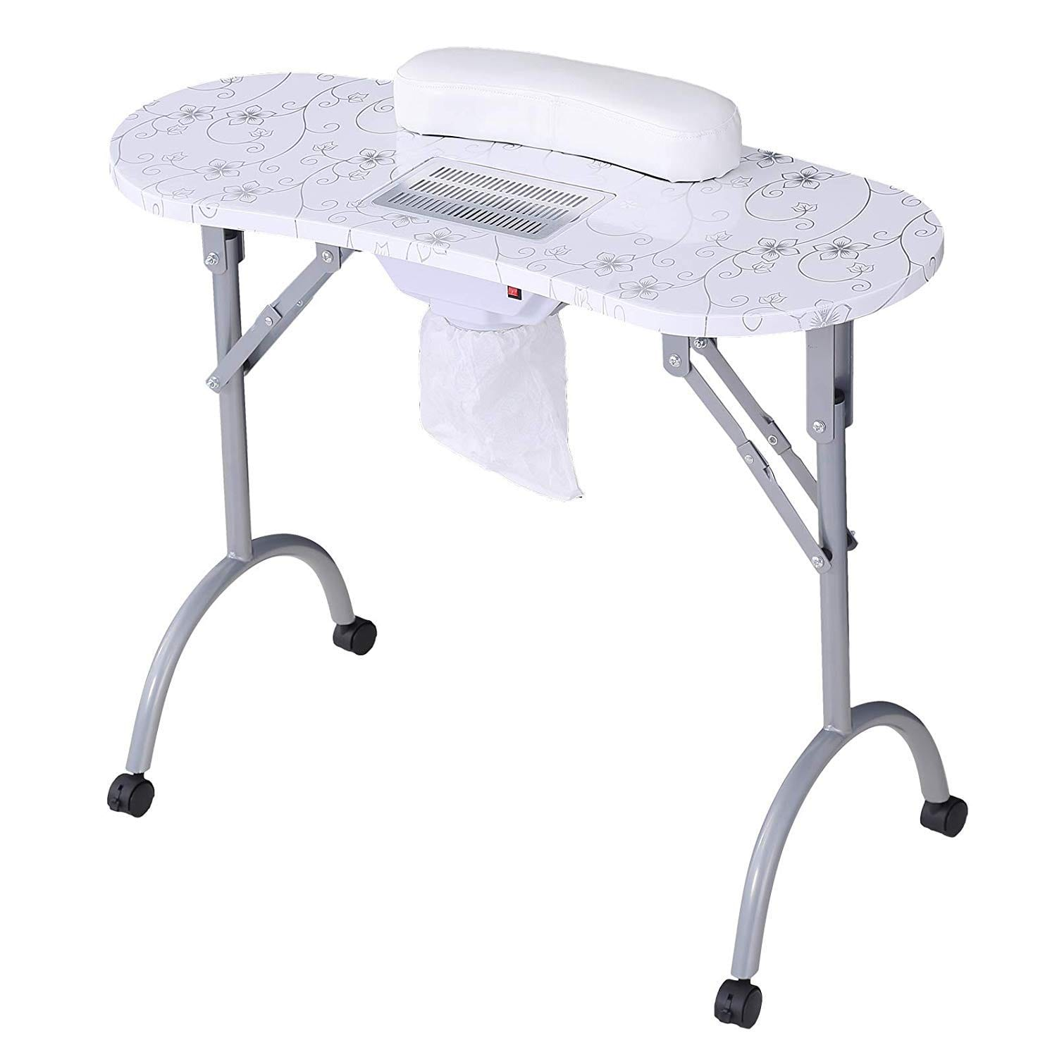 Manicure Nail Table-SUNCOO Portable Folding Nail Station Manicure