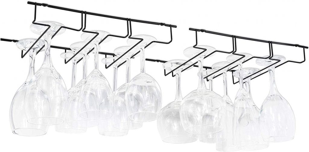 Wallniture Wine Glass Rack, Black
