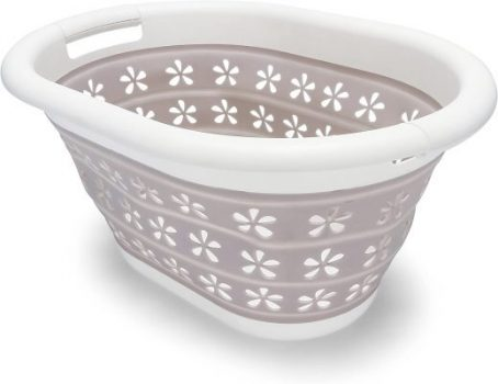 Camco Taupe/White Collapsible Laundry/ Utility Basket – Perfect for RVs, Boats, and Homes