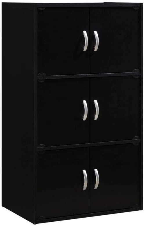 Hodedah 6 Door Bookcase cabinet, Black