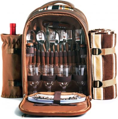 Picnic Backpack Bag for 4 Person With Cooler Compartment