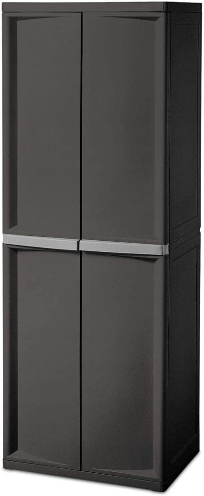 Sterilite 01423V01 4 Shelf Cabinet, Flat Gray, 1-Pack