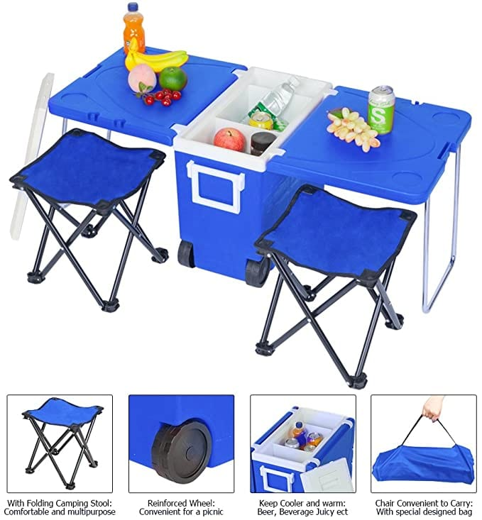 Teeker Rolling Cooler Picnic Table