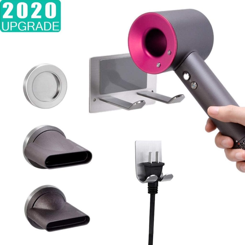 XIGOO Hair Dryer Holder, Self Adhesive Dyson Blow Dryer Wall Mount Holder Compatible Dyson Supersonic Hair Dryer, Brushed, 304 Stainless Steel, Power Plug, Diffuser and Nozzles Organizer
