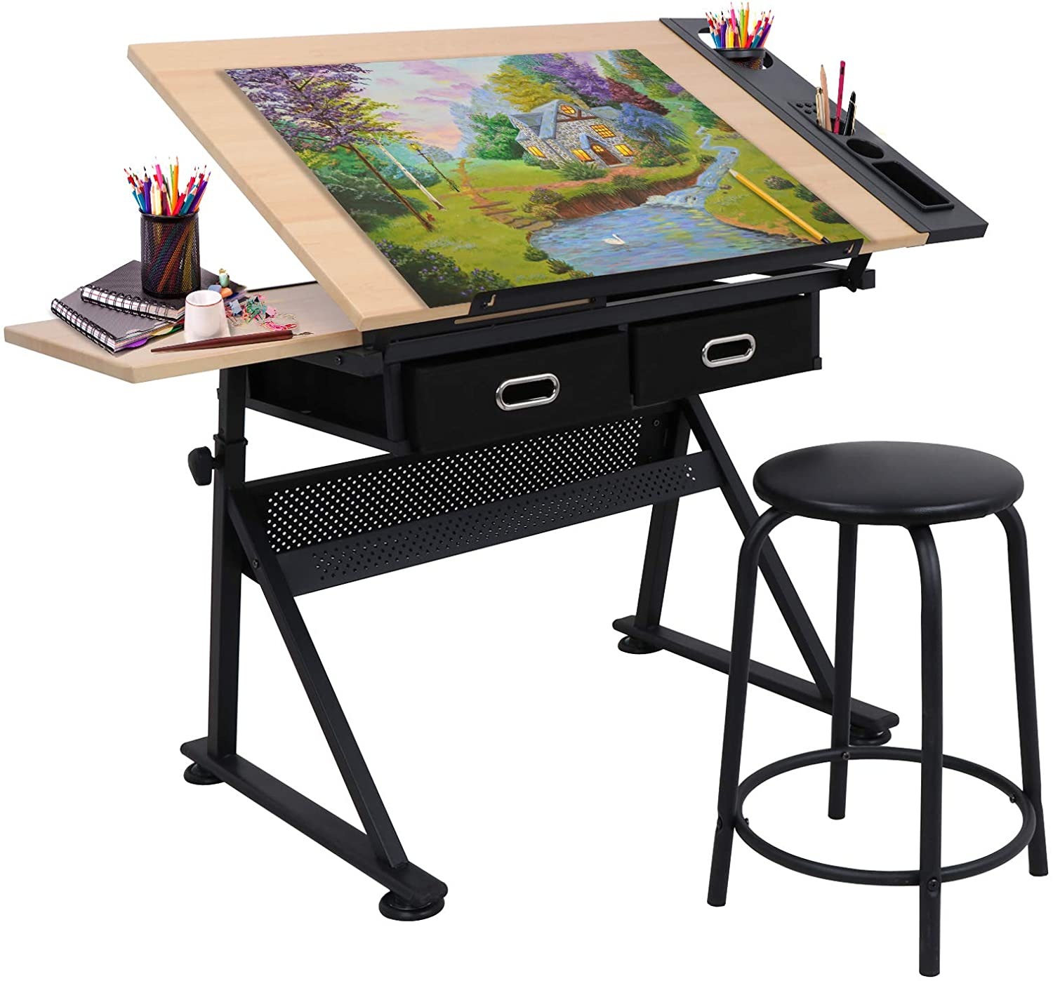 Adjustable Height Drafting Desk Drawing Table