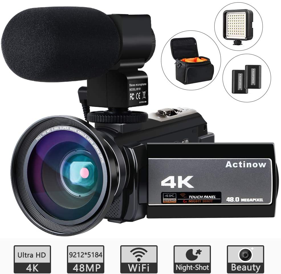 Aticon Video Camera 4K Camcorder Ultra HD 48MP WiFi IR Night Vision Vlogging Camera