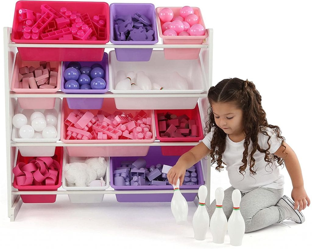 Humble Crew Kids' Toy Storage Organizer with 12 Plastic Bins, Pink&Purple