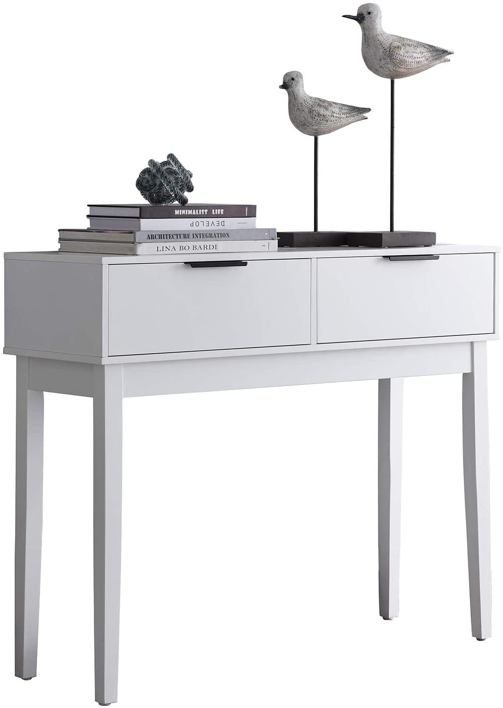 Kings Brand Furniture - Atmore Modern Console Sofa Entry Table with 2 Storage Drawers, White