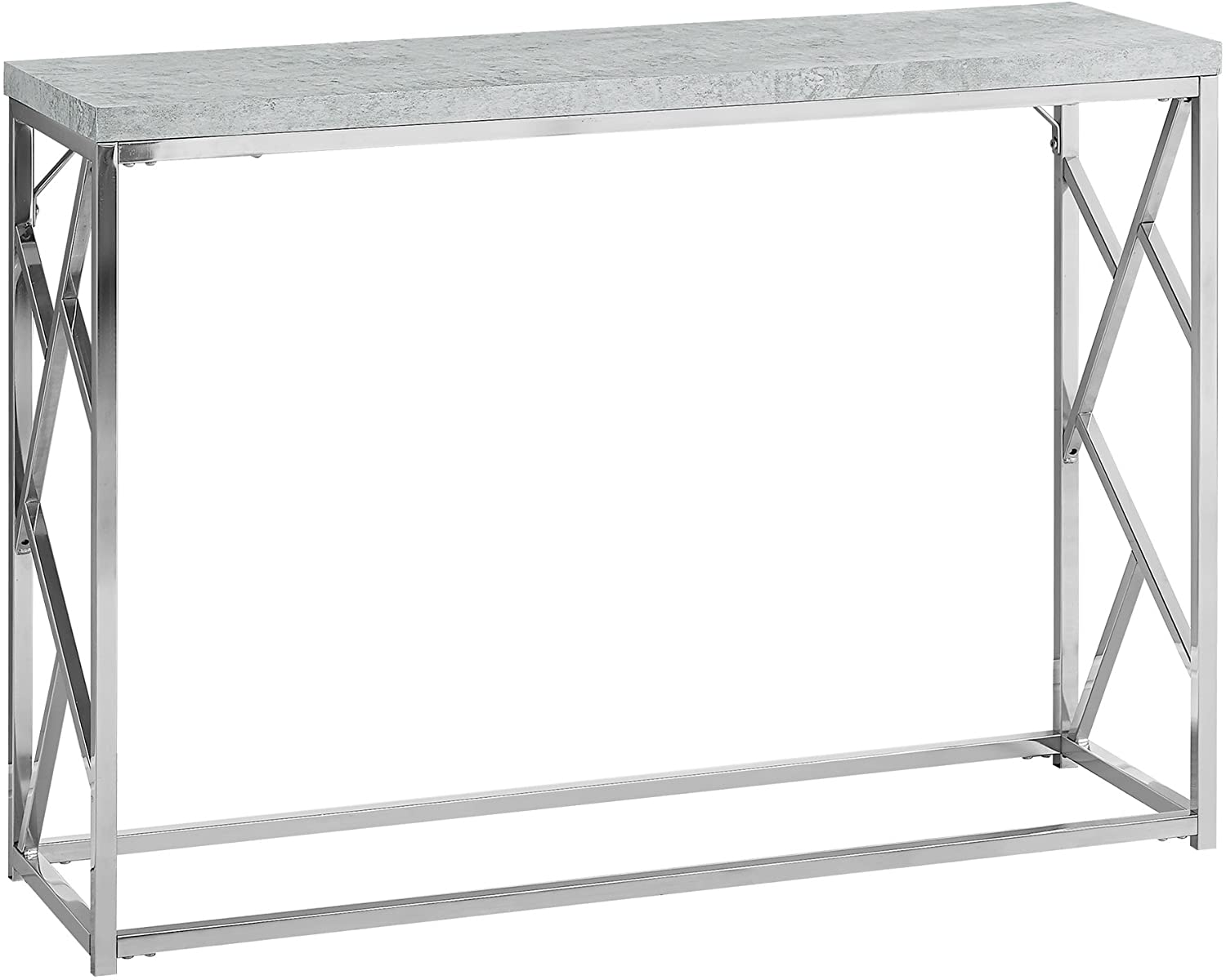 Monarch Specialties I Console Table - Grey Cement With Chrome Metal