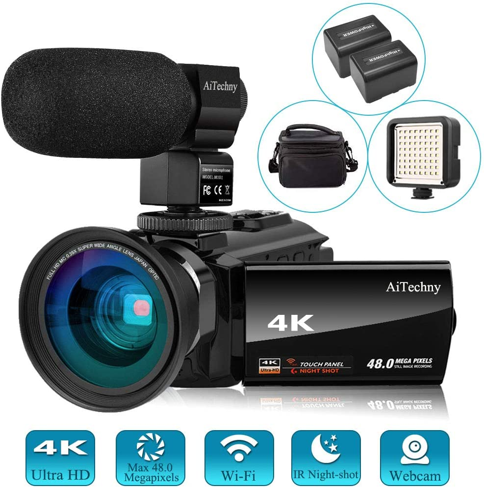 Video Camera 4K Camcorder Vlogging Camera for Youtube AiTechny Ultra HD