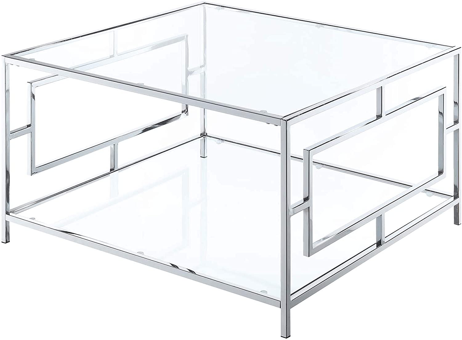 Convenience Concepts Town Square Chrome Square Coffee Table, Clear Glass