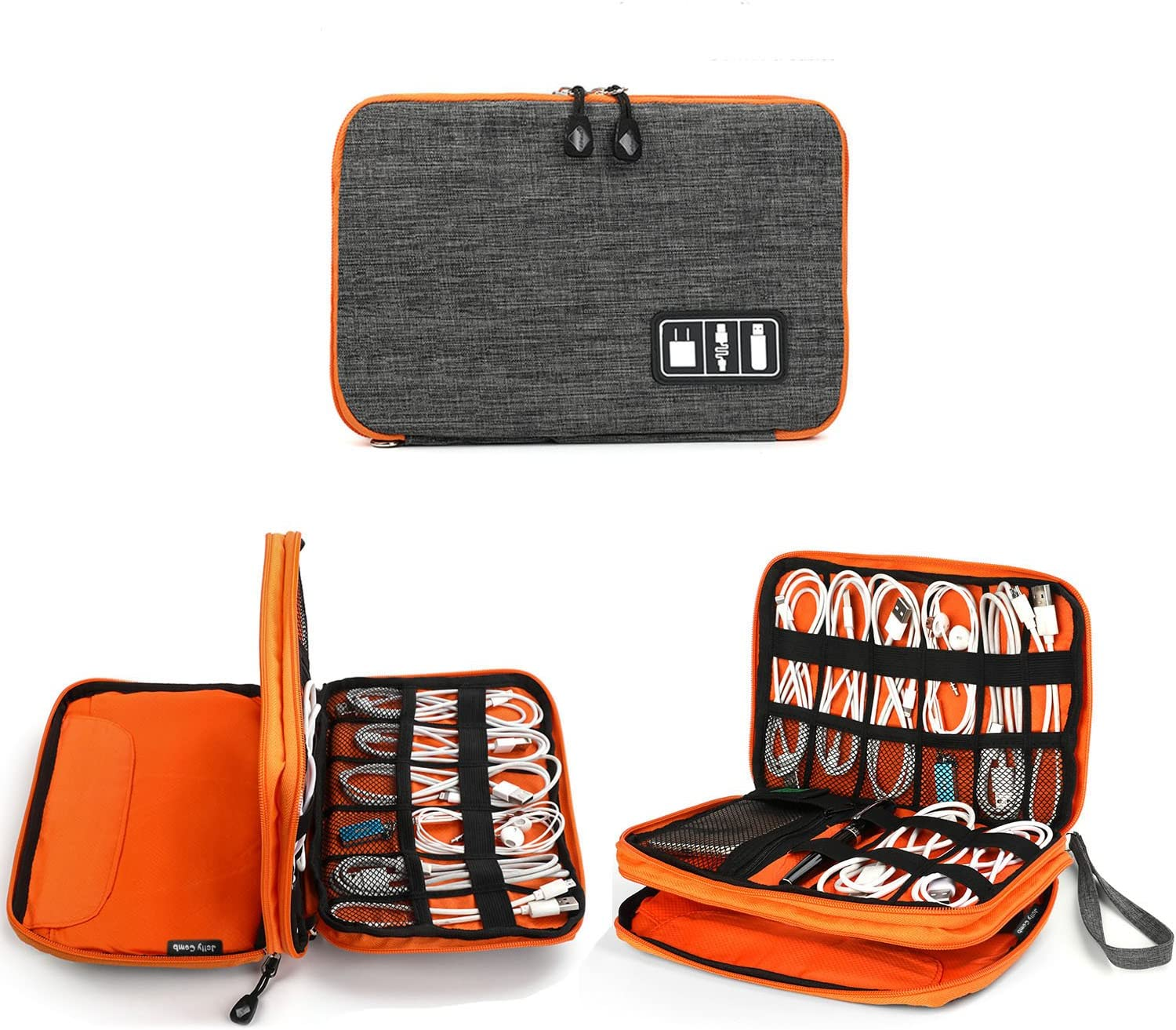 Electronics Organizer, Jelly Comb Electronic Accessories Cable Organizer Bag Waterproof Travel Cable Storage Bag for Charging Cable, Cellphone, Mini Tablet (Up to 7.9'') and More (Orange and Gray)