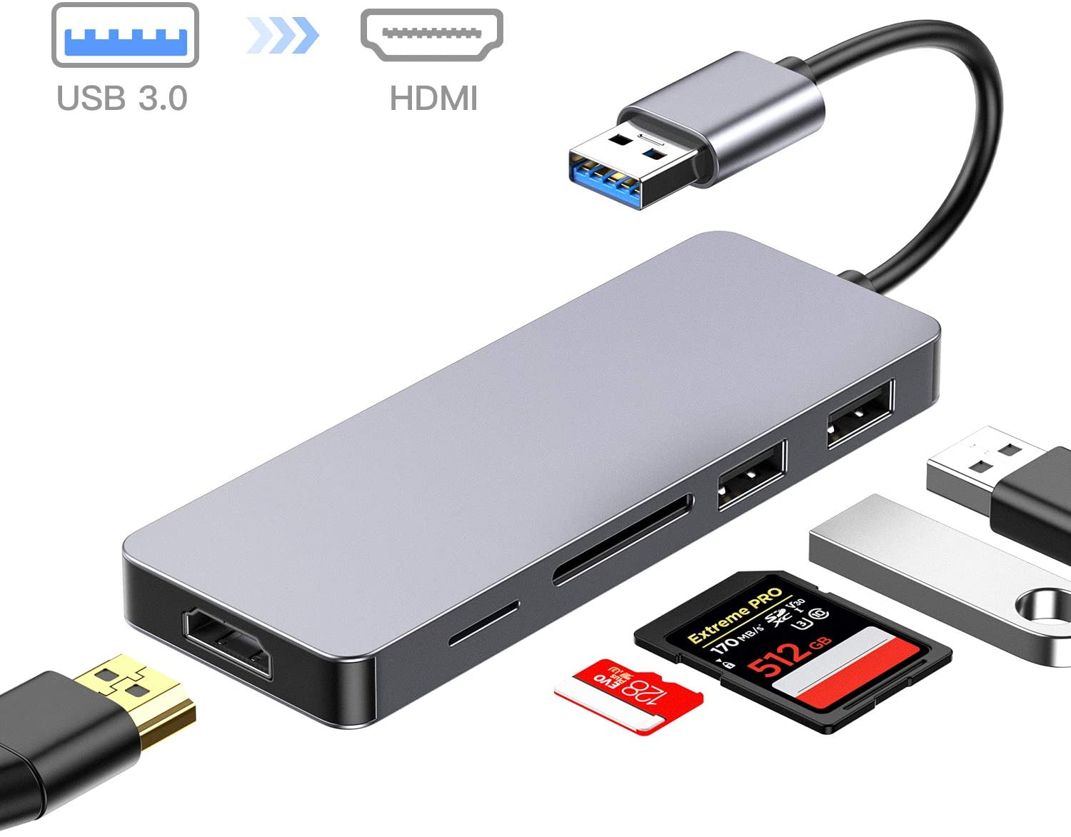 USB to HDMI Adapter,5-in-1 USB 3.0 to HDMI Converter