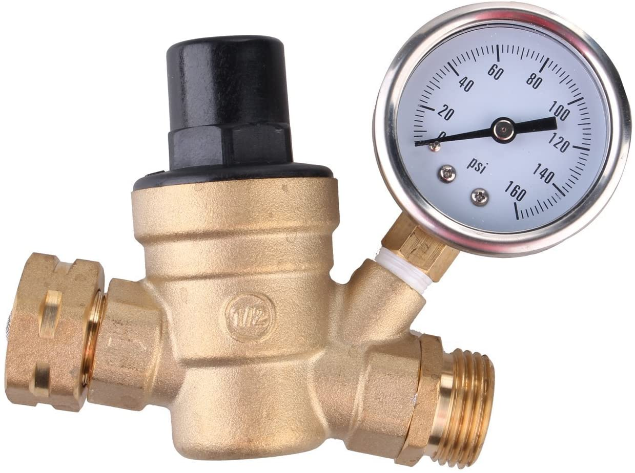 Brass Lead-free Adjustable RV Water Pressure Reducer with Guage and Inlet Screened Filter, 160 PSI Gauge, By Kepooman