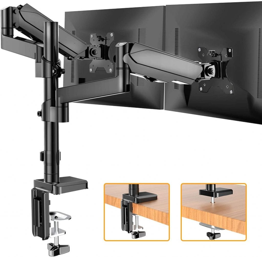 HUANUO HNDSK2 Dual Arm Gas Spring Monitor Stand