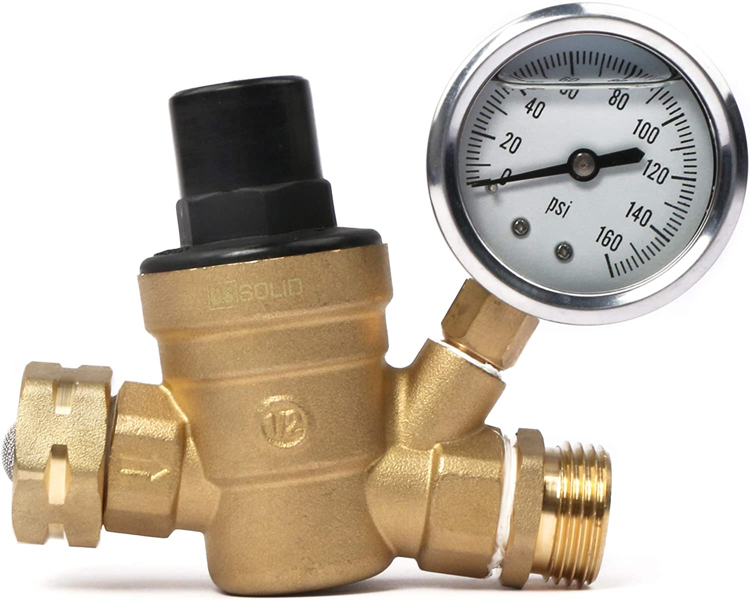 NH Thread Lead Free Brass Adjustable RV Pressure Regulator with Pressure Gauge and Water Filter Net by U.S. Solid