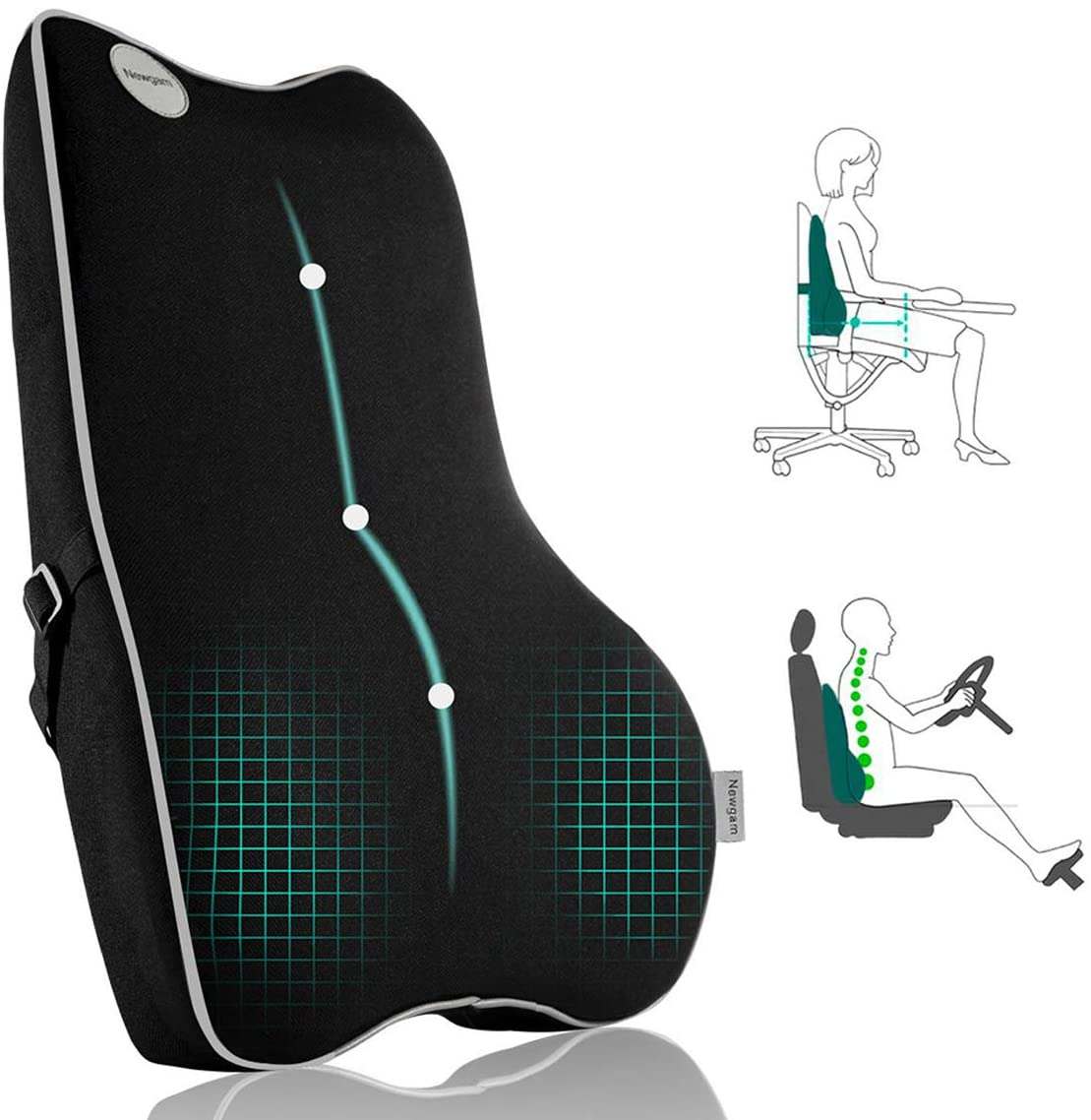 Lumbar Support Pillow,Pure Memory Foam Back Cushion Orthopedic Backrest with Breathable 3D Mesh for Car Seat,Office Chair,Computer Chair,Wheelchair