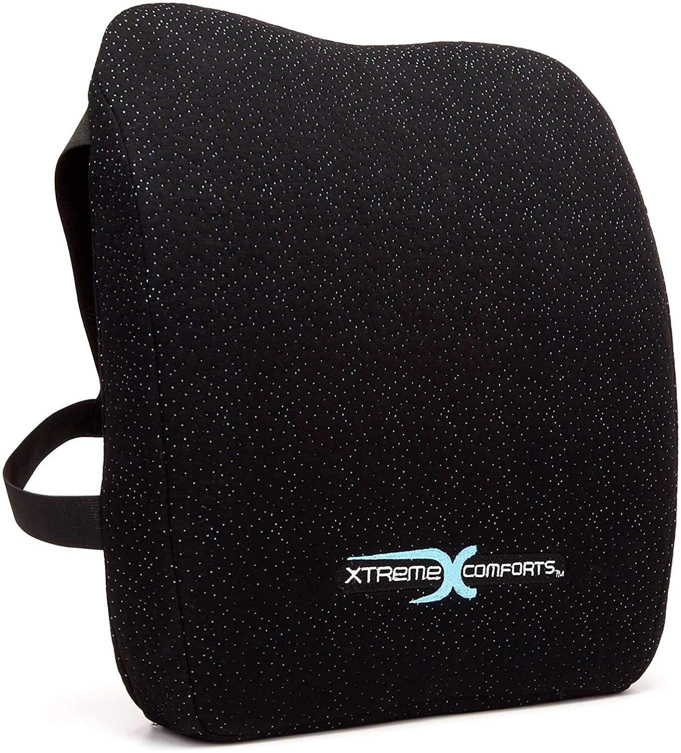Xtreme Comforts Memory Foam Back Support Cushion - Designed for Back Pain Relief - Lumbar Pillow with Premium Adjustable Strap