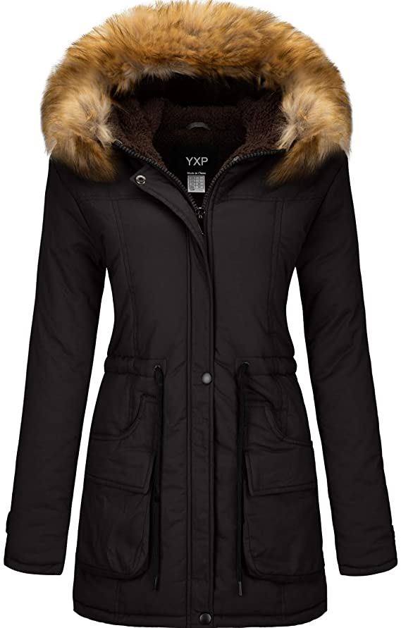 YXP Women's Winter Thicken Military Parka Jacket Warm Fleece Cotton Coat with Fur Hood